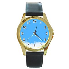 Blue Sky Clouds Day Round Gold Metal Watch by Simbadda
