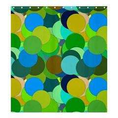Green Aqua Teal Abstract Circles Shower Curtain 66  X 72  (large)  by Simbadda