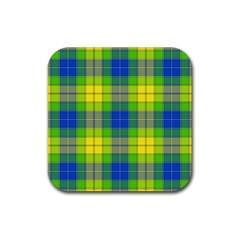 Spring Plaid Yellow Rubber Square Coaster (4 Pack)  by Simbadda