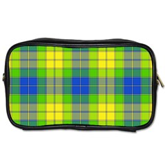 Spring Plaid Yellow Toiletries Bags 2 Side