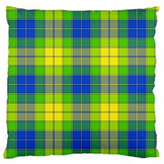 Spring Plaid Yellow Large Flano Cushion Case (two Sides) by Simbadda