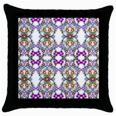 Floral Ornament Baby Girl Design Throw Pillow Case (black) by Simbadda