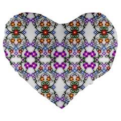 Floral Ornament Baby Girl Design Large 19  Premium Heart Shape Cushions by Simbadda