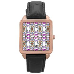 Floral Ornament Baby Girl Design Rose Gold Leather Watch  by Simbadda