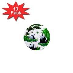 Cute Panda Cartoon 1  Mini Magnet (10 Pack)  by Simbadda