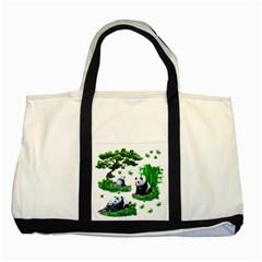 Cute Panda Cartoon Two Tone Tote Bag by Simbadda