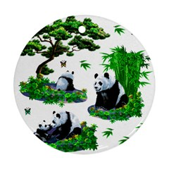 Cute Panda Cartoon Round Ornament (two Sides) by Simbadda