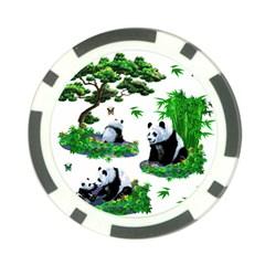 Cute Panda Cartoon Poker Chip Card Guard by Simbadda