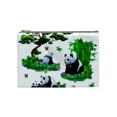 Cute Panda Cartoon Cosmetic Bag (medium)  by Simbadda
