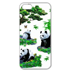 Cute Panda Cartoon Apple Seamless Iphone 5 Case (clear) by Simbadda