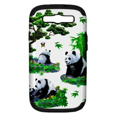 Cute Panda Cartoon Samsung Galaxy S Iii Hardshell Case (pc+silicone) by Simbadda