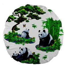 Cute Panda Cartoon Large 18  Premium Round Cushions by Simbadda