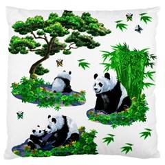 Cute Panda Cartoon Large Flano Cushion Case (two Sides) by Simbadda