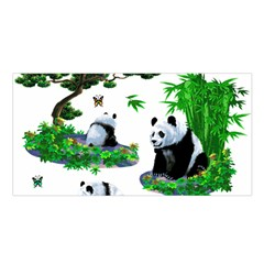 Cute Panda Cartoon Satin Shawl by Simbadda