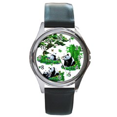 Cute Panda Cartoon Round Metal Watch by Simbadda
