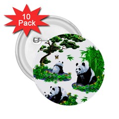 Cute Panda Cartoon 2 25  Buttons (10 Pack)  by Simbadda