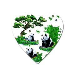 Cute Panda Cartoon Heart Magnet by Simbadda