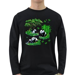 Cute Panda Cartoon Long Sleeve Dark T Shirts by Simbadda