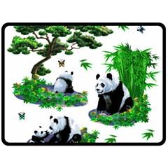 Cute Panda Cartoon Fleece Blanket (large)  by Simbadda