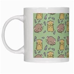 Cute Hamster Pattern White Mugs by Simbadda