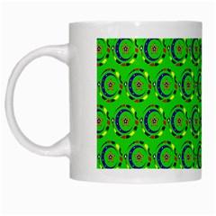 Green Abstract Art Circles Swirls Stars White Mugs by Simbadda