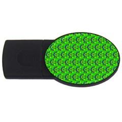 Green Abstract Art Circles Swirls Stars Usb Flash Drive Oval (2 Gb) by Simbadda