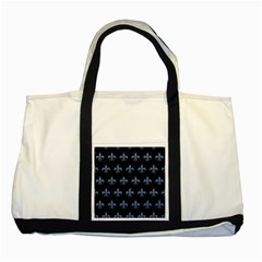 Royal1 Black Marble & Blue Denim (r) Two Tone Tote Bag by trendistuff