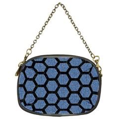 Hexagon2 Black Marble & Blue Denim (r) Chain Purse (two Sides) by trendistuff