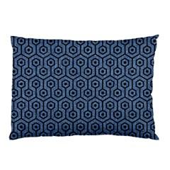 Hexagon1 Black Marble & Blue Denim (r) Pillow Case by trendistuff