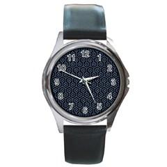 Hexagon1 Black Marble & Blue Denim Round Metal Watch by trendistuff