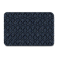 Hexagon1 Black Marble & Blue Denim Plate Mat by trendistuff