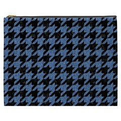 Houndstooth2 Black Marble & Blue Denim Cosmetic Bag (xxxl) by trendistuff