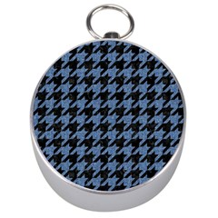 Houndstooth2 Black Marble & Blue Denim Silver Compass by trendistuff