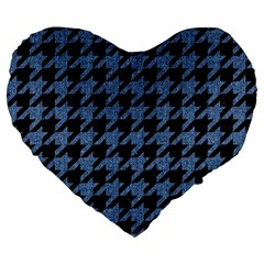 Houndstooth2 Black Marble & Blue Denim Large 19  Premium Flano Heart Shape Cushion by trendistuff