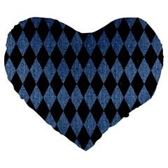 Diamond1 Black Marble & Blue Denim Large 19  Premium Flano Heart Shape Cushion by trendistuff