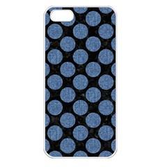 Circles2 Black Marble & Blue Denim Apple Iphone 5 Seamless Case (white) by trendistuff