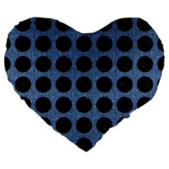 Circles1 Black Marble & Blue Denim (r) Large 19  Premium Flano Heart Shape Cushion by trendistuff