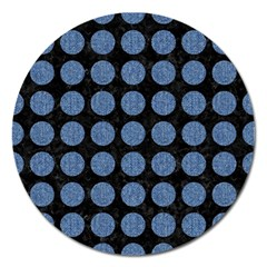 Circles1 Black Marble & Blue Denim Magnet 5  (round) by trendistuff