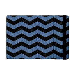 Chevron3 Black Marble & Blue Denim Apple Ipad Mini Flip Case by trendistuff