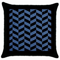 Chevron1 Black Marble & Blue Denim Throw Pillow Case (black) by trendistuff
