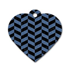 Chevron1 Black Marble & Blue Denim Dog Tag Heart (two Sides) by trendistuff