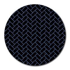 Brick2 Black Marble & Blue Denim Round Mousepad by trendistuff