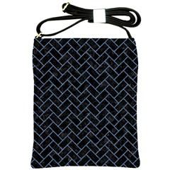 Brick2 Black Marble & Blue Denim Shoulder Sling Bag by trendistuff