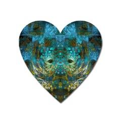 Blue Gold Modern Abstract Geometric Heart Magnet by CrypticFragmentsColors