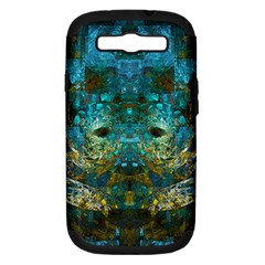 Blue Gold Modern Abstract Geometric Samsung Galaxy S Iii Hardshell Case (pc+silicone) by CrypticFragmentsColors