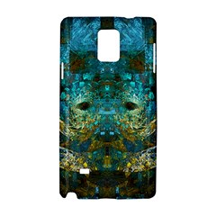 Blue Gold Modern Abstract Geometric Samsung Galaxy Note 4 Hardshell Case by CrypticFragmentsColors