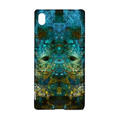 Blue Gold Modern Abstract Geometric Sony Xperia Z3+ by CrypticFragmentsColors