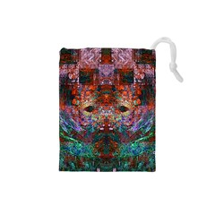 Modern Abstract Geometric Art Rainbow Colors Drawstring Pouches (small)  by CrypticFragmentsColors