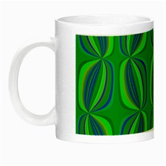 Blue Green Ethnic Print Pattern Night Luminous Mugs by CrypticFragmentsColors