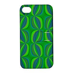 Blue Green Ethnic Print Pattern Apple Iphone 4/4s Hardshell Case With Stand by CrypticFragmentsColors